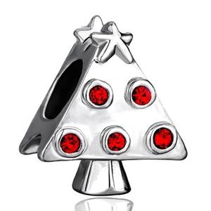 Pugster Christmas Tree Red Rhinestones Charm Bead